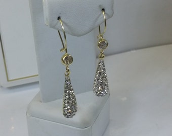 Earrings gold 333 drop crystals OR103