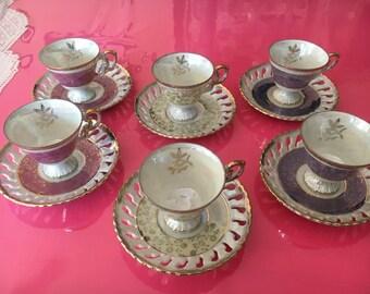 Vintage Italian Pearl-Finish Teacup Set