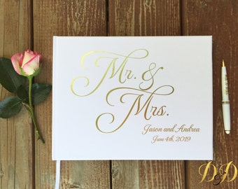 Wedding Guest Book Wedding Guest book Mr Mrs wedding keepsake Real gold foil Silver foil guest book Personalized Custom Wedding Photo book