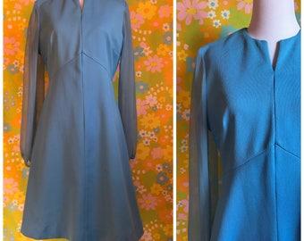 Vintage 1970's Sky Blue Long Sheer Sleeves Elegant Party A Line J.C. Penny Dress Retro Brady Bunch Mad Men Size Large L