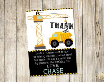 Personalized Construction theme thank you. Dump Truck, Dump Everything, Under construction. FILE DOWNLOAD only. DIGITAL file