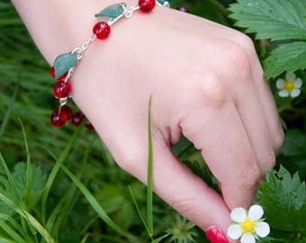 Cherry Red with leaves dark or light green metal bracelet silver color - craft made in Alsace - customizable - spring