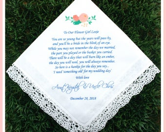 Flower Girl Handkerchief - Today you hold a BASKET of FLOWERS-Printed-CUSTOMIZED-Bride Gift to Flower Girl hankies-Wedding Gift