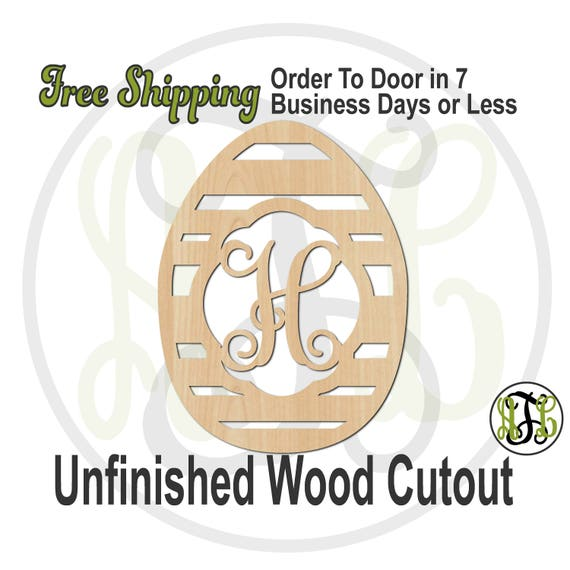 Striped Monogram Egg- 140025M1- Easter Cutout, Initial, unfinished, wood cutout, wood craft, laser cut, wood cut out, wooden