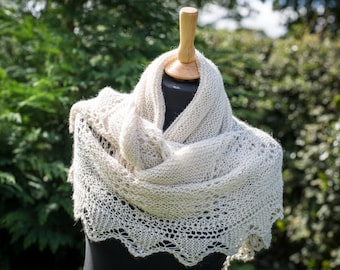 Beautiful Hand Knit Shawl, Wrap,  - Bridal, Wedding, Evening, Occasion, Luxury Baby Alpaca, Mulberry Silk; READY TO SHIP