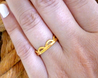 Geometric Band Ring, Gold Ring, Thumb Ring, Open Band Ring, Simple Ring, Everyday Ring, Casual Rings, Minimalist Ring, Gift for women