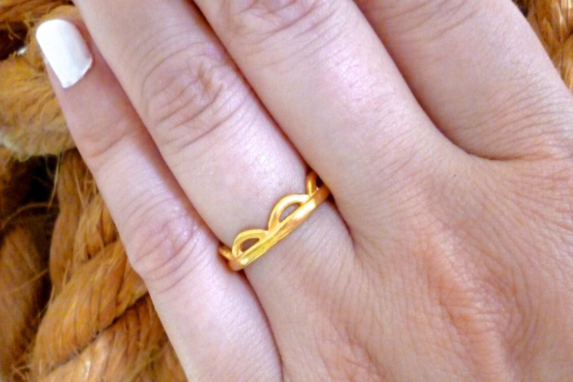 Geometric Band Ring Gold Ring Thumb Ring Open Band Ring