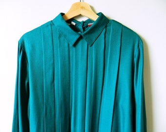 Vintage Teal Tuxedo Front Shirt / Billowy Pleated Blouse / Deep Sea Teal Blue Blouse / Pleated 70s Blouse
