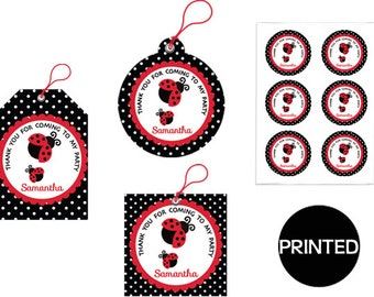 Printed  RED BLACK LADYBUG Polkadot Girl Baby Shower  Birthday , Gift Tags, Favor Tags,  Labels, Stickers, Party Supplies