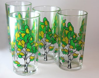 Hand Painted Glasses Birch Water Glasses Glassware set of 4 Glasses with Birch Drinking Glasses Drinkware Painted tableware for juice