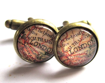 London Map Cufflinks Brass and Glass Cuff Links Men Jewelry