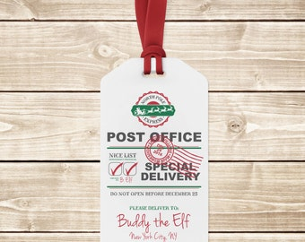 INSTANT DOWNLOAD (Digital) North Pole Express Post Office Special Delivery Gift Tags - Large and Small - Blank Space to Personalize