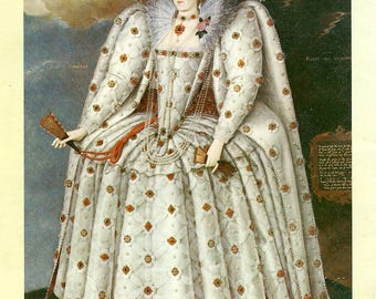 Queen Elizabeth I the Ditchley 1592 Portrait Book Page to Frame or to use in Paper Arts, Collage, Scrapbooking, Mixed Media PSS 3493