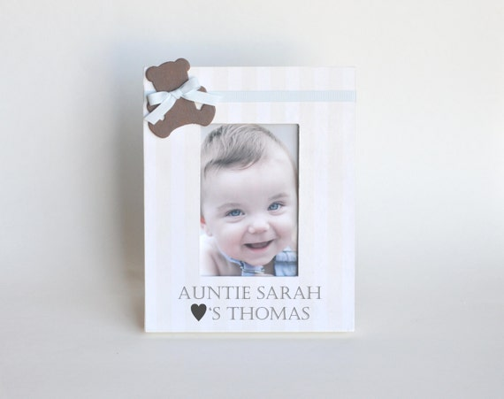 Personalized Nephew Picture Frame Gift Aunt Baby Shower Present Bear ...