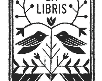 Birds Ex Libris Rubber Stamp