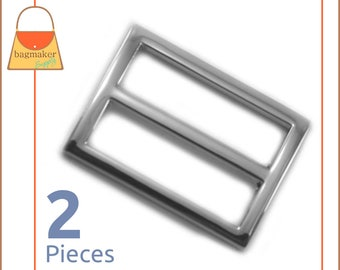 "1.25 Inch Center Bar Slide, Super Shiny Nickel Finish, 2 Pack, Purse Strap Slider Buckle, Handbag Making Hardware, 1-1/4"", 1.25"",BKS-AA077"