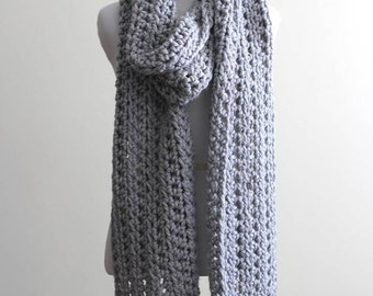 Long chunky scarf, long winter scarf, soft dove grey scarf, shawl scarf, chunky knit scarf