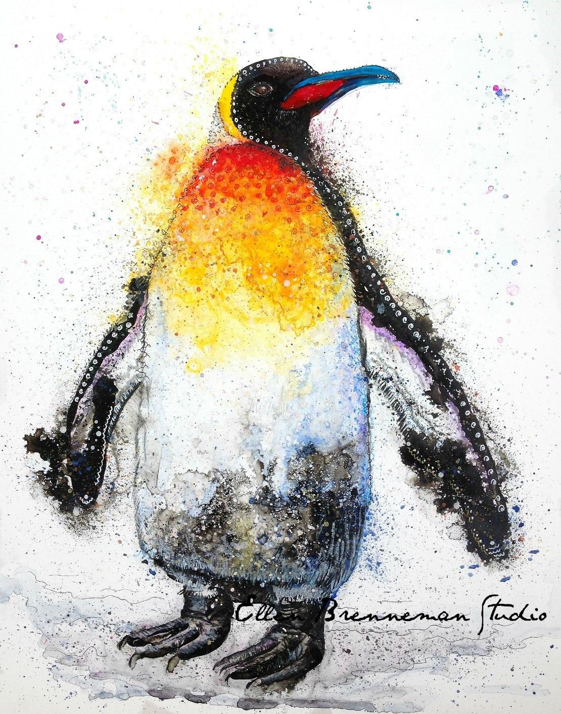 Penguin art print: penguin nursery art penguin painting