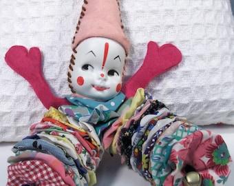 Yo Yo Clown Doll, Jinglin' Jack, colorful vintage fabrics, authentic painted face