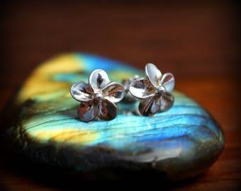Sterling silver Plumeria earrings, flower post earrings, Plumeria earrings