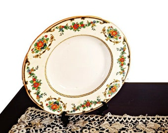 Art Deco  Dinner Plate Collectible by John Maddock and Sons Ltd-  Ivory with Black Scroll and Flowers