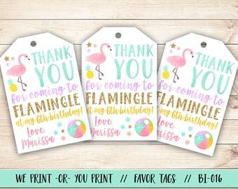 Flamingo Favor Tag, Flamingo Birthday Favor Tag, Flamingo Party Favor, Flamingle Birthday Favor Tag, Summer Party Favor Tag, Summer Birthday