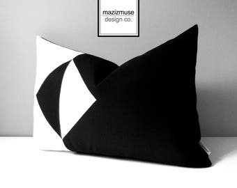 Modern Black & White Outdoor Pillow Cover, Geometric Color Block, Decorative Sunbrella Pillow Case, Cushion Cover, Mazizmuse Eclipse
