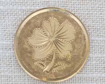 Gold Flower Brooch Vintage Round Coin Shiny Simple Broach Vtg Pin 7JJ