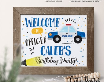 INSTANT DOWNLOAD - EDITABLE Police Birthday decorations Welcome sign Cops and robbers printable decorations Police party sign favor tags