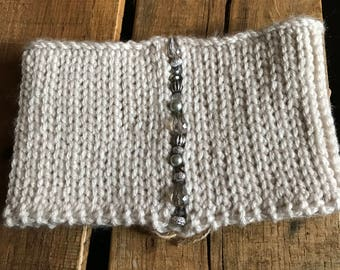 Dove Grey Hand Beaded Headband