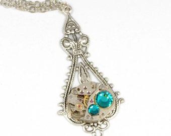 DECEMBER Steampunk Necklace, BLUE ZIRCON Steam Punk Necklace, Vintage Watch Silver Wedding Victorian Steampunk Jewelry VictorianCuriosities