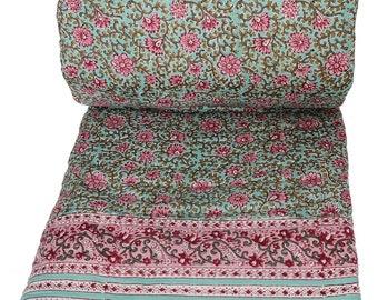 Queen Quilt - Flora Aqua - 90 x 108 - 100% cotton, reversible.