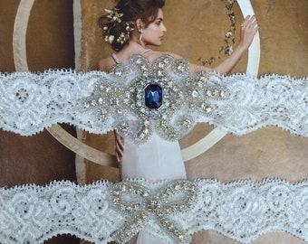 ON SALE Wedding Garter Set, Bridal Garter Set, Something Blue, Ivory Lace Garter, Green Garter, Adele Style 10233