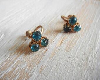 1950's Aqua Blue Rhinestone  Earrings | Minimal Earrings