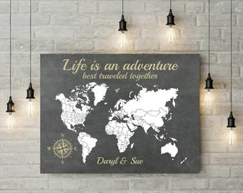 Adventure Awaits | World Map | Anniversary Gift For Husband | Engagement Gift | Where It All Began | Canvas Print | Map Art - 60577C