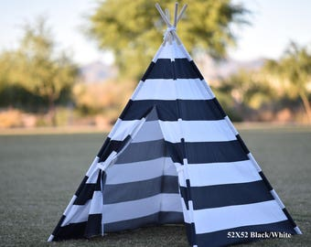 Stripe Canvas Adult/Kids Teepee, Kids Play Tent, Childrens Play House, Tipi,Kids Room Decor