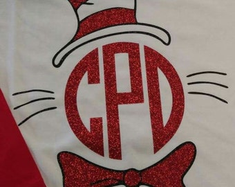 Read Across America Glitter Vinyl Cat Hat Ragland Tshirt