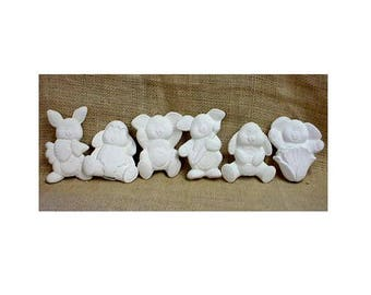 Bunny Ornaments in bisque for Easter