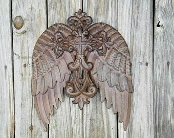 Angel wings, angel wing decor, metal angel wings, rustic angel wings, angel wall decor, guardian angel, ornate wing decor, rustic wings