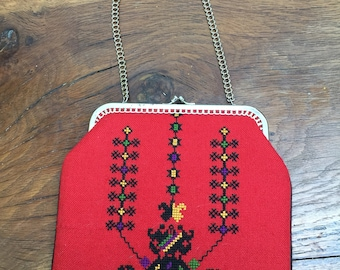 Lovely CROSS STITCH Made in Italy | Wrist Handbag | Embroidery Bag | Small Bag Red Embroidery Bag |