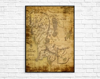 Map of Middle Earth Lord Of The Rings Poster The Hobbit
