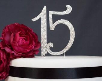 15 Quinceañera Rhinestone Cake Topper Premium Crystal Rhinestones - Number fifteen - 15th Birthday or Anniversary Party - Keepsake