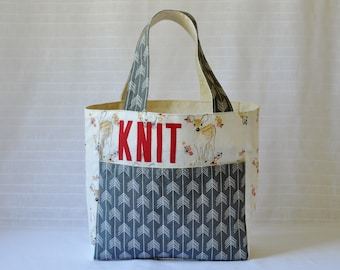 Stand Up Knitting Tote - Pink and Gray Deer Fabric - Knitting Bag with Pockets - Zippered Pockets - Gift for Knitter - Personalized Bag