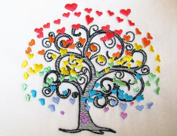 Rainbow love tree sketch stitch embroidery designs 4x4 5x7 for Embroidery office design version 9