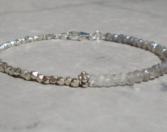 Labradorite Bracelet, Karen Hill Silver Bracelet, Shaded Labradorite, Silver Bracelet, Ombre Bracelet, Dainty Beaded Bracelet, Anklet