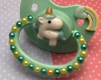 Abdl/Ddlg Pastel green glow in the dark unicorn adult pacifier.