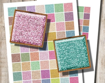 Colorful Glitter Squares, Glitter Jewelry Image, Printable Digital Collage, 20 mm, 25 mm, 18 mm, Glitter Digital Paper, Instant Download, d6