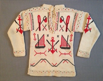 1960's, wool, sailing sweater, in cream with red and navy nautical designs