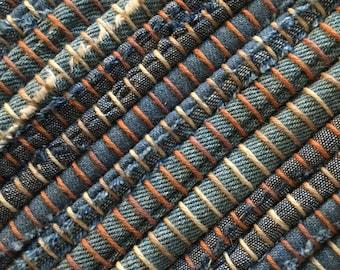 "Hand Woven Rag Rug Blue Denim 28"" x 56"""