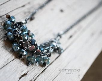 Boho Cluster Necklace Mystic Labradorite Short Gemstones Necklace Chic Elegant Jewelry Letemendia Handmade